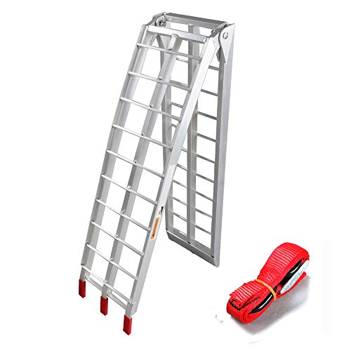 1pc 7.5' motorcycle ramp Aluminum Arched Foldable Folding Loading ATV Dirt Bike Ramp 750Lbs Capacity ()