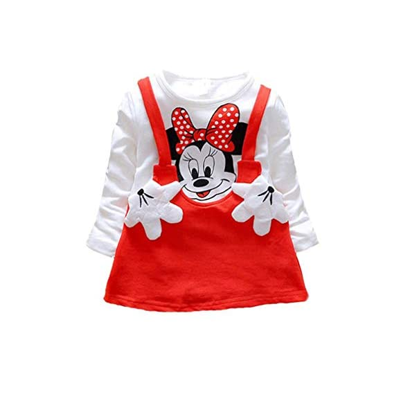Bold N Elegant Cool White n Red Mickey Mouse Cute Cartoon Pinny Pinafore Dress Midi Little Baby Girl Clothing for kids …