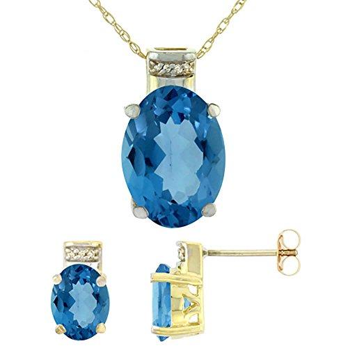 Jewellery World Bague en or jaune 9carats Topaze Bleu Londres naturel ovale boucles d'oreilles et pendentif Set Accents de diamant