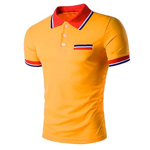(iLXHD Summer Mens Sport Short Sleeve Slim Fit Casual T Shirt Blouse Tops Tees Orange)