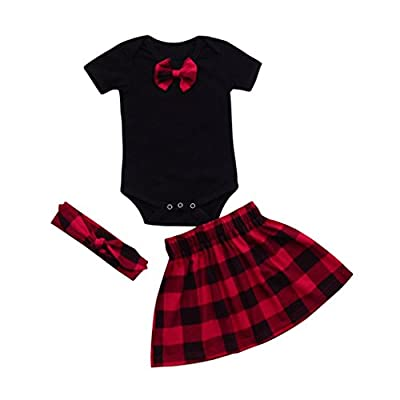 Baby Clothes Sets, Newborn Infant Plaid Romper Tops+Skirt Headband Outfits by WOCACHI