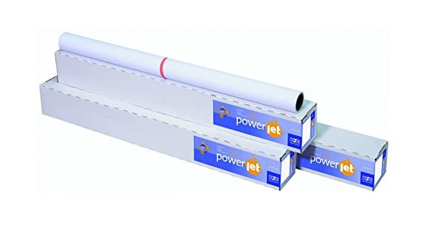 Power Jet 7612 090 24 01 9 Inkjet papeles para plotter ruedas y formatos 610 mmx45 m Color Blanco: Amazon.es: Oficina y papelería