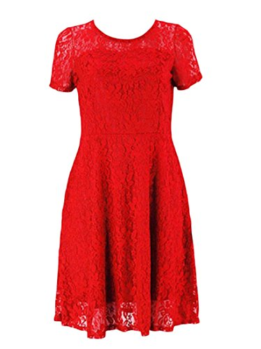 Women Sleeve Lace Crew Trim Simple Short Plus Red Party Neck Coolred Dress Size a6ATTq