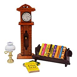 Make your Dollhouse or Fairy Garden Come to Life - Dollhouse Accessories Set 1:12 Scale - Mini-Books Set - Book Rack, Mini Lamp & Wooden Grandfather Clock - Miniatures for Dolls Bundle