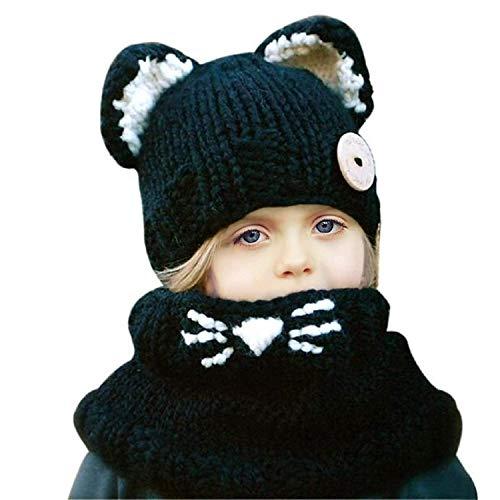 b75623227e2 Kids Girls Crochet Hat Cartoon Warm Winter Knitted Hood Animal Coif Scarf  Earflap Beanies (3