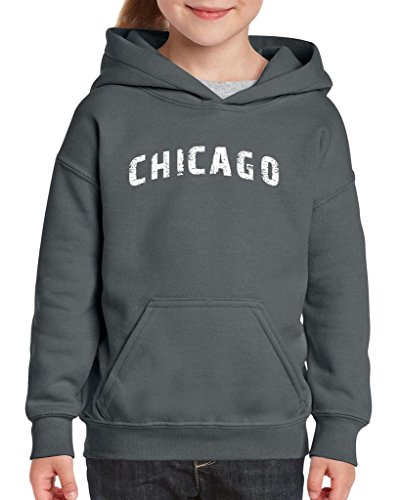 Xekia Chicago illinois Distress Windy State Hoodie For Girls and Boys Youth Kids X-Large Charcoal -
