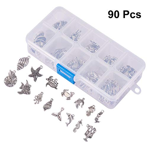 (SUPVOX 90pcs Marine Animals Pendants Charms Antique Silver Charms DIY Jewelry Craft Making Accessory for Necklace Bracelet (Antique Silver))