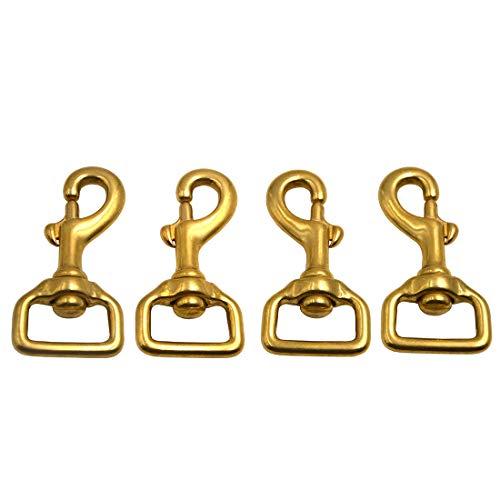 Okones Pack of 4Pcs,1-1/4''(32mm) Inner,3-1/7'' OAL,Heavy Duty Solid Brass Swivel Eye Lobster Clasp Bolt Snap Hook for Straps Bag Belting Outdoors Tent Pet(1-1/4''Inner×3-1/7'' Square Eye,BRA0067)