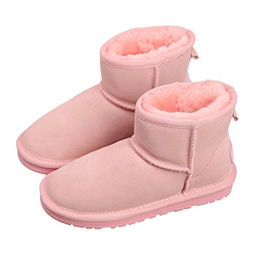 Sole Thick Women's Boots Anti Lined Warm Classic Boots Shoes Snow Skid Boots Flat Winter Eastlion Fur Pink Short F4SqwUU