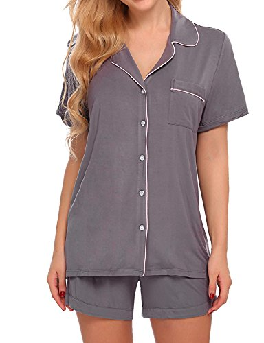 Ekouaer Women's Sleepwear Short Sleeve Pajama Set Eco-Friendly,Gray S