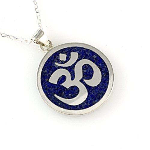 Sterling Silver Round Natural Dark Blue Lapis Mosaic OM Sanskrit Symbol Yoga Pendant Necklace 16+2'' Chain - Tibetan Silver Amulet Pendants