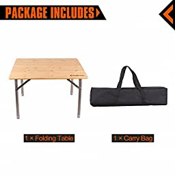 KingCamp Portable Heavy Duty 4-Fold 2 Heights Environmental Protection Anti-UV Folding Bamboo Table with Carry Bag