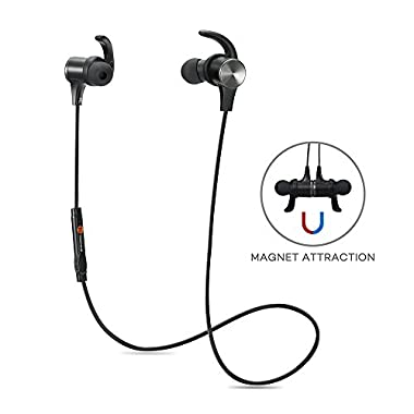 Bluetooth Headphones TaoTronics Bluetooth 4.1 Stereo Magnetic Earphones Earbuds Secure Fit for Sport with Built-in Mic