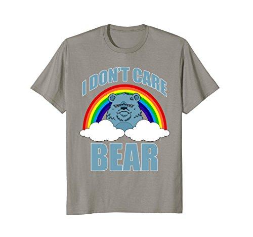 Care Bears Cotton T-shirt (Mens FUNNY I DONT CARE BEAR T-SHIRT Classic Meme Humor Medium Slate)