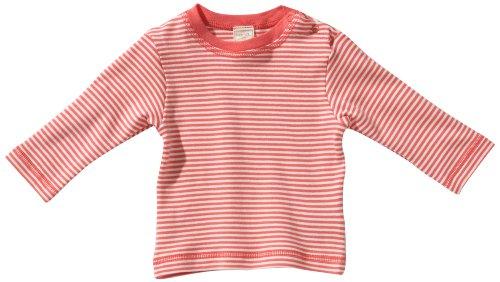 Lana Naturalwear - Camiseta de manga larga con cuello redondo para niños Melocotón/Natur