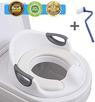 Potty Training Seat for Kids Toddlers Boys Girls Toilet Seat for Baby with Cushion Handle and Backrest Toddlers Toilet Training Seat for Baby Kids Toddlers (Kids Training Potty)