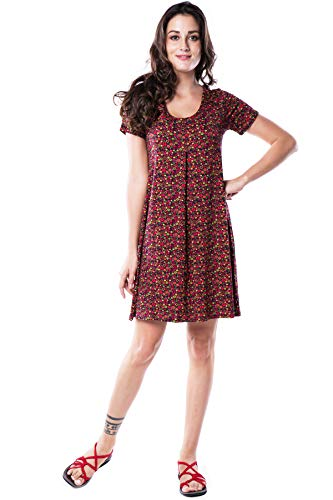 Nanakee Front Pleated Tunic Dress - Flattering Belly Cover Loose Fit Floral Print Shift Dress Short Sleeve T-Shirt Dress - 3XL - Brown