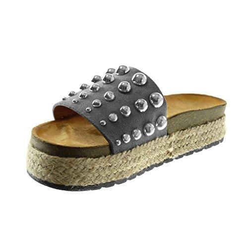Angkorly Scarpe Moda Sandali Mules Slip-On Zeppe Donna Borchiati Perla  Corda Tacco Zeppa Piattaforma ... fe922bd6ffe