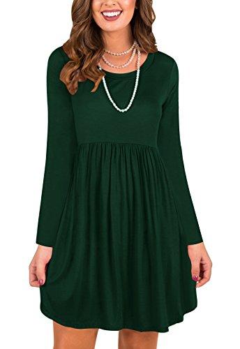 LAVENCHY Womens Dresses Long Sleeve Summer Casual Maternity Tunic T-Shirt Dress for Women Dark Green,XL (Empire Waist Maternity Cardigan)