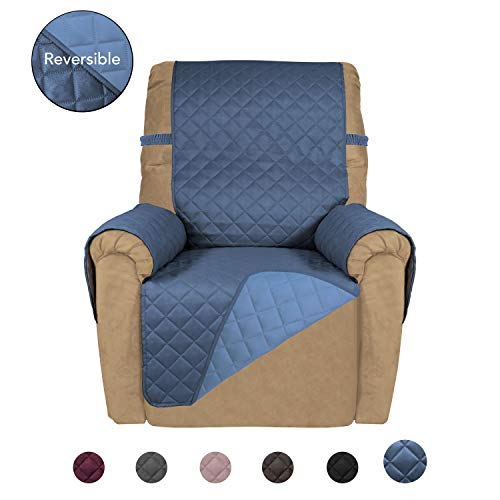 Ready Made Slipcover - PureFit Reversible Quilted Recliner Sofa Cover, Water Resistant Slipcover Furniture Protector, Washable Couch Cover with Elastic Straps for Kids, Dogs, Pets (Recliner, DarkBlue/LightBlue)