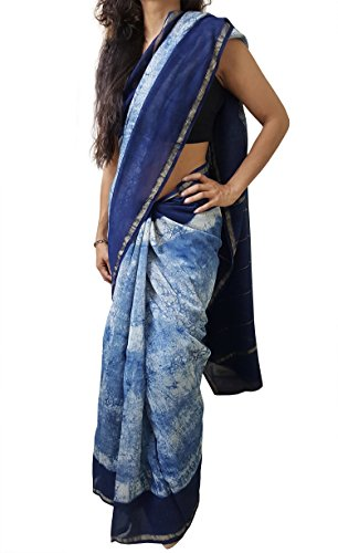 Mehrunnisa BAGRU MAHESHWARI Cotton Silk Saree with Blouse Piece from Jaipur (Indigo Batik)
