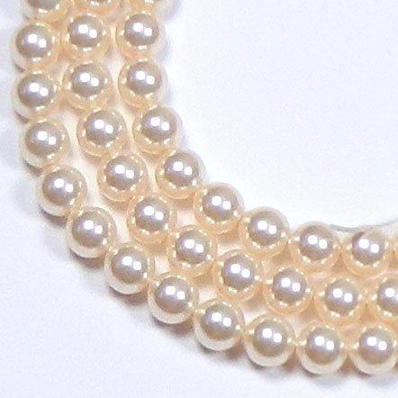 (100 Swarovski Crystal Pearls 6mm Round Beads (5810). 24 Inch Loose Strand (Cream Rose))