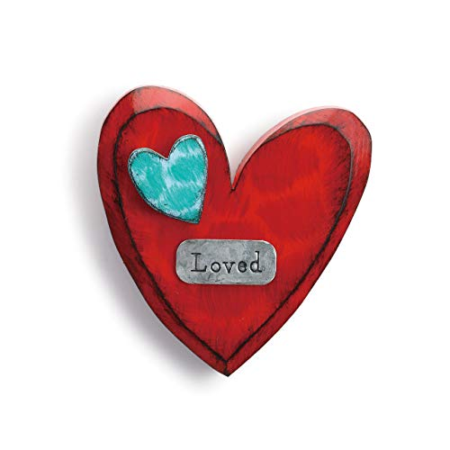 DEMDACO Loved Heart Blue and Red 6 inch Fir Wood Composite Decorative Wall Art Sign -