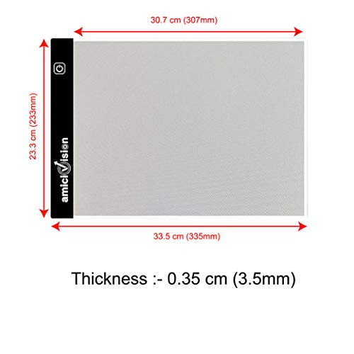 amiciVision LED Lighted Drawing Board A4 Size Tracing Board with Brightness Controlled Touch Button (1, A4)