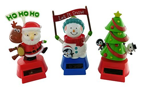 Christmas Solar Powered Dancing Decorations | Set of 3: Christmas Tree, Santa with his Reindeer and a Snowman, all in their own plastic Bubble Packages (Bobble Santa Head)