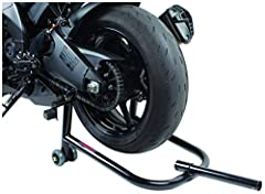 The Trackside Rear Paddock Stand is capable of lifting both spools and flat bottom sided swing arms. It is constructed of heavy duty steel tubing with a tough powder coated finish. The dual wheels makes the lifting action smoother than ever w...