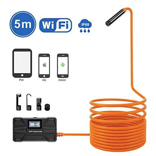 Yugoo Wireless Endoscope, WiFi Borescope 1.18inch to 197inch Focal Length, 1080P HD WiFi Snake Inspection Borescope Camera with 2.0MP, IP68 Waterproof Cable for Android and iOS, Tablet- 16.5ft