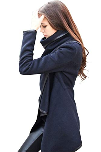 Blazer E Blu Cappotto Donna Overcoat Trench Cardigan Capispalla Collo Top Pullover Asimmetrica Poncho Lunga Mantelle Irregolare Giacca Inverno Giubbotto Alto Slim Fit Parka Autunno Aperto Moda Manica TYxCF
