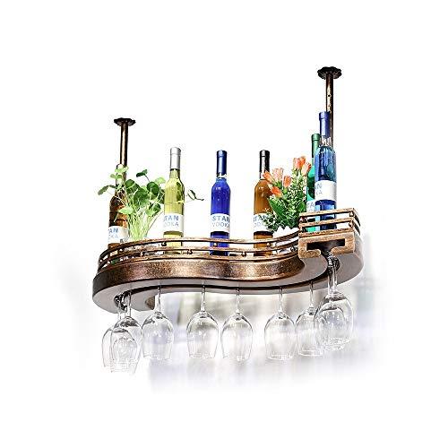 YQQ-estantería de vino, Botellero De Vino Estante De Vidrio De Vino Estante del Vino Madera Maciza Sostenedor De Taza De...