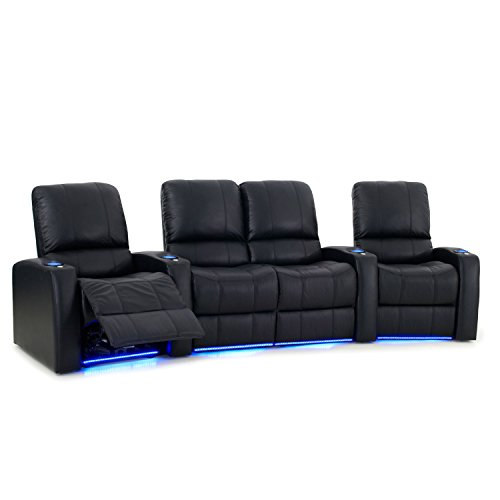 Octane Seating Blaze XL900 Home Theater Recliners Black Top-Grain Leather - Accessory Dock - Power Recline - Curved Row of 4 Seats