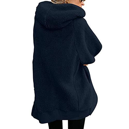 Couleur Pour Ouvertes Mode Femme En D'agneau Grande Chaud Avec Cardigan S Veste Taille Laine Manteau Toogoo Pure Zip À Marine Capuche Poches La Frontales De ABPT7vn