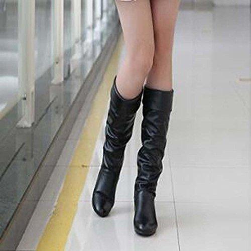 Solshine Damen Langschaft mit Falten Blockabsatz Stiefel Knee High Boots Größe 35 - 43 Schwarz (Ohne Fell)