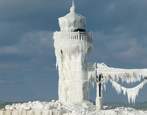 Seascape Lighthouse (Lighthouse / Winter with Ice 11 x 14 / 11x14 GLOSSY Photo Picture IMAGE #15)