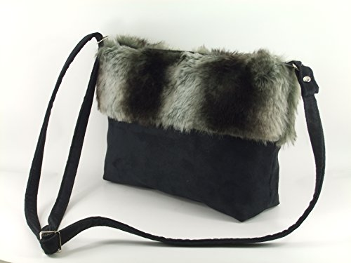 LONI Faux Shoulder LONI Black Crossbody Bag Fur Faux Suede rEURBqrw