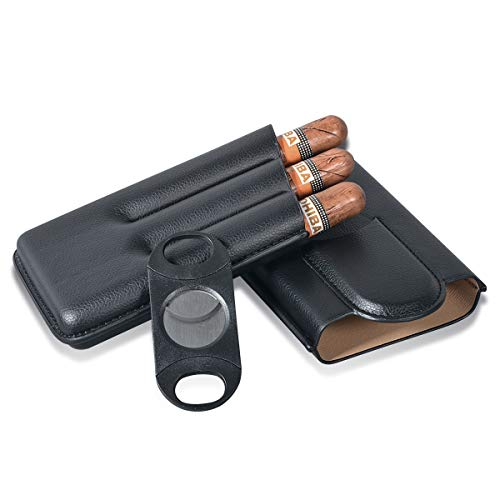 Volenx Travel Cigar Case, 3-Finger Cigar Humidor Cigar Holder with Cutter