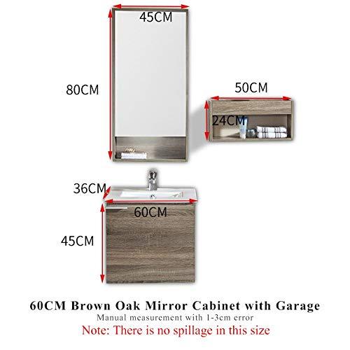 Bathroom Modern Marble Countertops, Vanity Mirror Cabinet 60cmOak