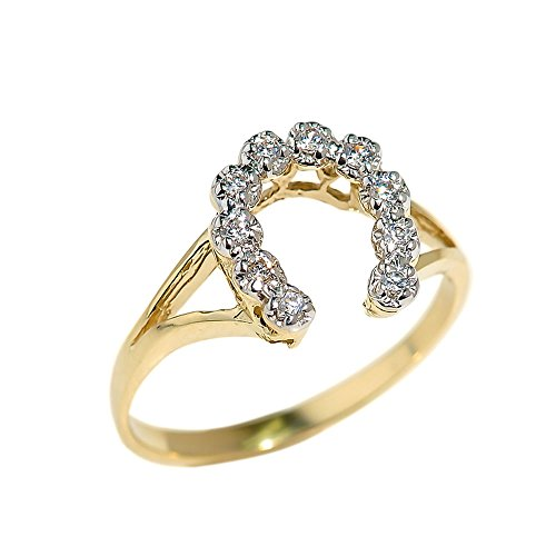 Dainty 10k Yellow Gold CZ-Studded Lucky Horseshoe Ring
