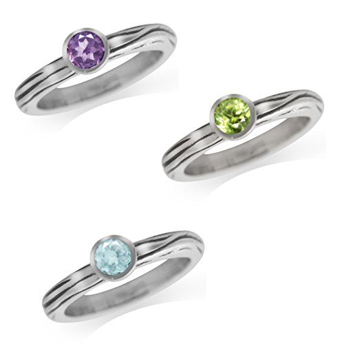 Natural Amethyst, Peridot & Blue Topaz 925 Sterling Silver 3-Pc Stack/Stackable Textured Band Ring Size 7