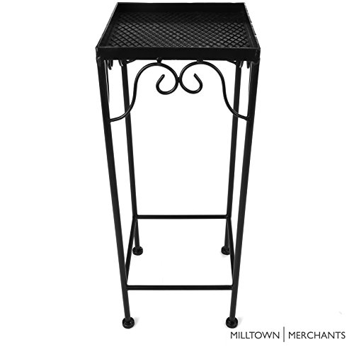 Milltown Merchants™ Indoor/Outdoor Small 19' Square Plant Stand - Nesting Accent Side Table For Potted Plants And Flowers - Black Metal Decorative Patio Stand With Curved Scrollwork