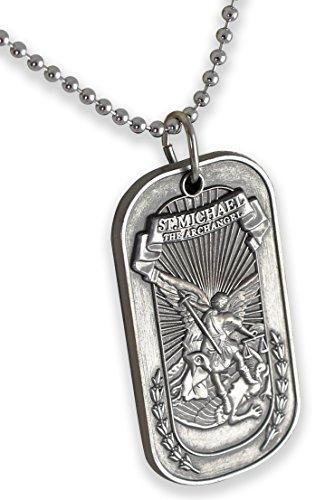 (Forge Saint Michael The Archangel Psalms 91:10 Silver Tone Commemorative Dog Tag Pendant Necklace (1 Necklace))