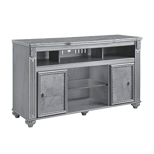 Benjara BM194847 Traditional Style Wooden TV Stand with Faux Marble Top and Fireplace Option, Large, Gray