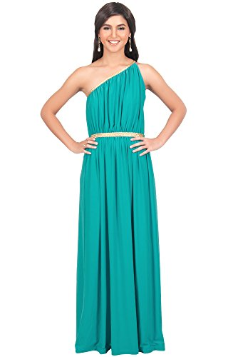 - KOH KOH Womens Long One Off The Shoulder Grecian Flowy Summer Formal Evening Bridesmaid Wedding Party Sexy Sundress Gown Gowns Maxi Dress Dresses for Women, Turquoise M 8-10 (1)