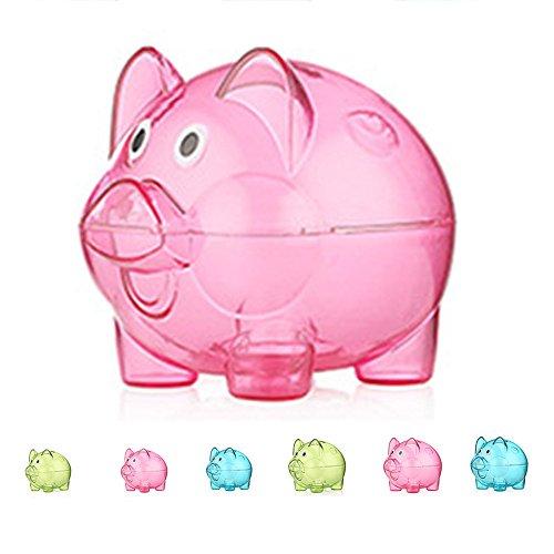 Transparent Plastic Money Saving Box Case Coins Piggy Bank Cartoon Pig Shaped Rose red (Happy Pig Bank)