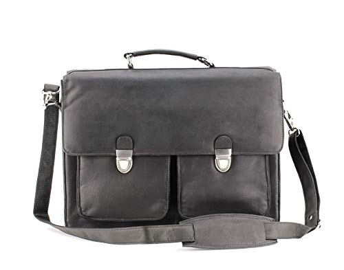 Aspen Colombian Leather Two Lock Flap Over Messenger Briefcase Black