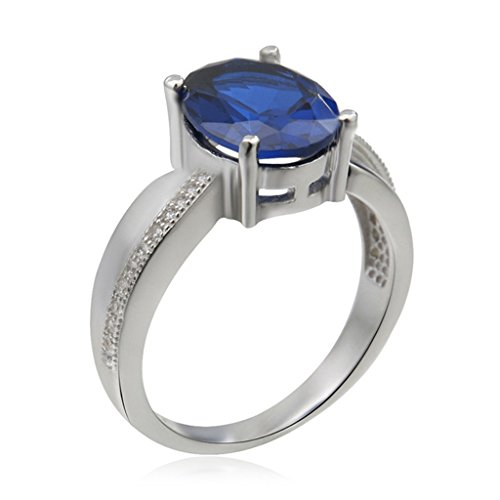 Waldorf Four Light - Aooaz Silver Plated Ring For Women Blue Crystal Micro Pave CZ Ring 4 Prongs Retro Wedding Band Size 7