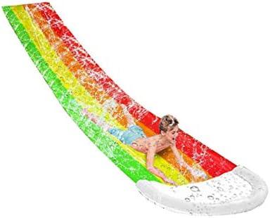 Strongest Waterslide Multicolor Lawn Water Slides  236 x 47in Premium Quality Sliding Mat Summer Water Sports Toys,Childrens Slip Sheets People Surfboard Garden Toys Fastest Slipn Slide